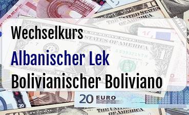 Albanischer Lek in Bolivianischer Boliviano