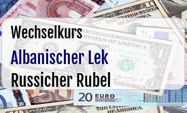 Albanischer Lek in Russicher Rubel