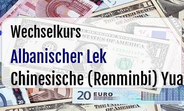 Albanischer Lek in Chinesische (Renminbi) Yuan