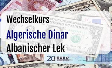 Algerische Dinar in Albanischer Lek