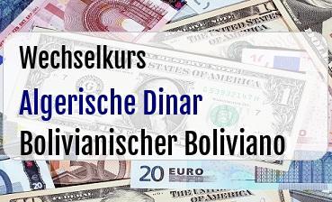 Algerische Dinar in Bolivianischer Boliviano