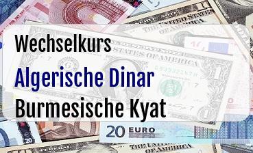 Algerische Dinar in Burmesische Kyat