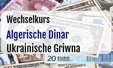 Algerische Dinar in Ukrainische Griwna