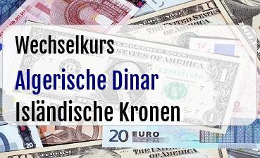Algerische Dinar in Isländische Kronen