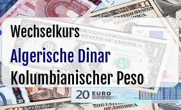 Algerische Dinar in Kolumbianischer Peso