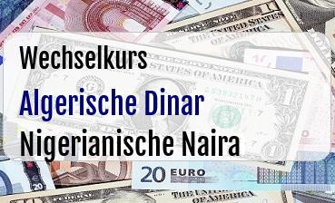 Algerische Dinar in Nigerianische Naira