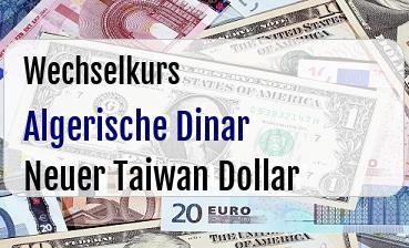 Algerische Dinar in Neuer Taiwan Dollar