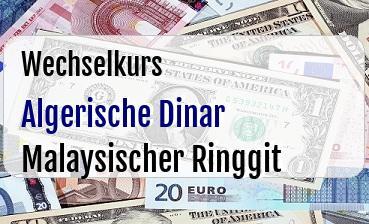 Algerische Dinar in Malaysischer Ringgit