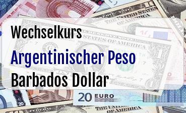 Argentinischer Peso in Barbados Dollar