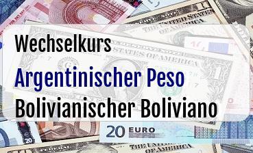 Argentinischer Peso in Bolivianischer Boliviano