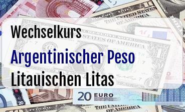 Argentinischer Peso in Litauischen Litas
