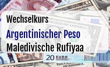 Argentinischer Peso in Maledivische Rufiyaa