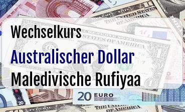Australischer Dollar in Maledivische Rufiyaa