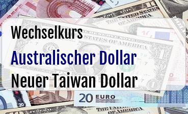 Australischer Dollar in Neuer Taiwan Dollar