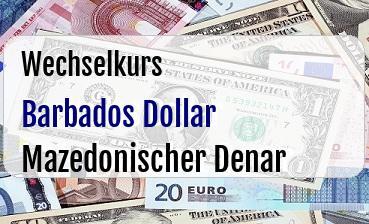 Barbados Dollar in Mazedonischer Denar