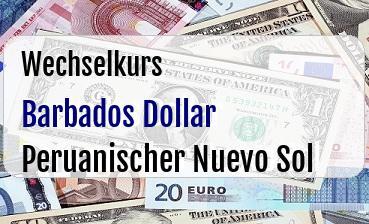 Barbados Dollar in Peruanischer Nuevo Sol