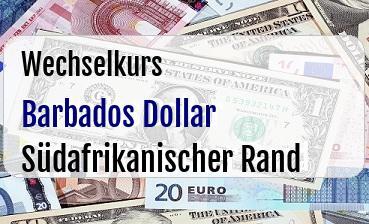Barbados Dollar in Südafrikanischer Rand