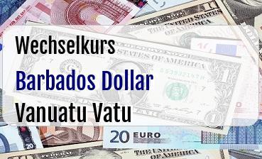 Barbados Dollar in Vanuatu Vatu