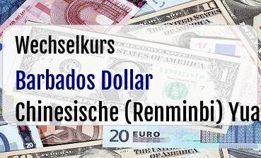 Barbados Dollar in Chinesische (Renminbi) Yuan