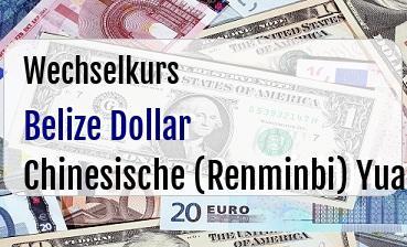 Belize Dollar in Chinesische (Renminbi) Yuan