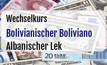 Bolivianischer Boliviano in Albanischer Lek