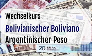 Bolivianischer Boliviano in Argentinischer Peso
