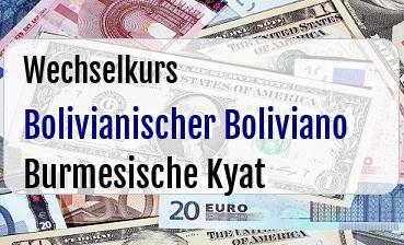 Bolivianischer Boliviano in Burmesische Kyat
