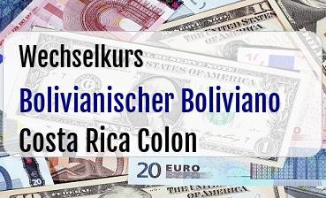 Bolivianischer Boliviano in Costa Rica Colon