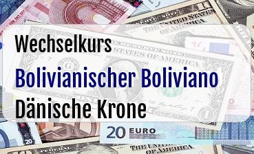 Bolivianischer Boliviano in Dänische Krone