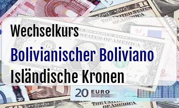 Bolivianischer Boliviano in Isländische Kronen