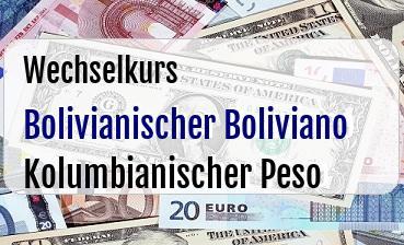 Bolivianischer Boliviano in Kolumbianischer Peso
