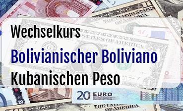 Bolivianischer Boliviano in Kubanischen Peso