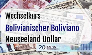 Bolivianischer Boliviano in Neuseeland Dollar