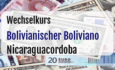 Bolivianischer Boliviano in Nicaraguacordoba