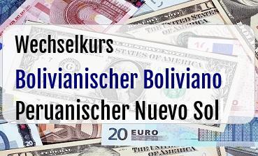 Bolivianischer Boliviano in Peruanischer Nuevo Sol