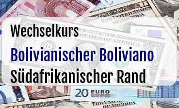 Bolivianischer Boliviano in Südafrikanischer Rand