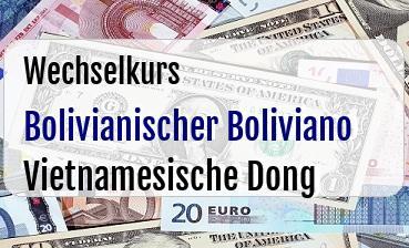 Bolivianischer Boliviano in Vietnamesische Dong