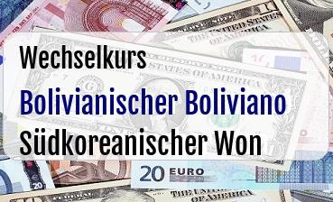 Bolivianischer Boliviano in Südkoreanischer Won