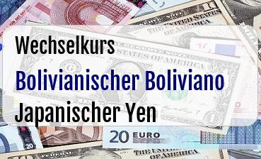 Bolivianischer Boliviano in Japanischer Yen