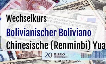 Bolivianischer Boliviano in Chinesische (Renminbi) Yuan