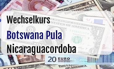 Botswana Pula in Nicaraguacordoba