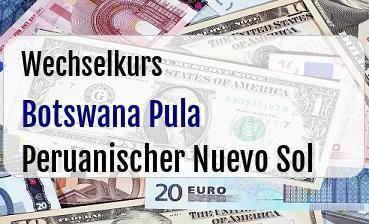 Botswana Pula in Peruanischer Nuevo Sol
