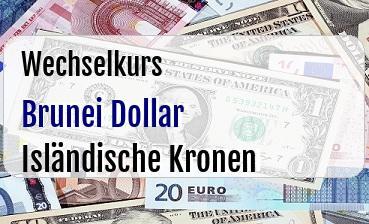 Brunei Dollar in Isländische Kronen