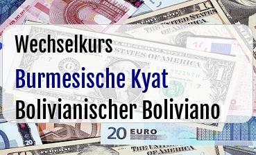 Burmesische Kyat in Bolivianischer Boliviano