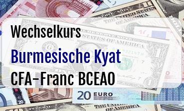 Burmesische Kyat in CFA-Franc BCEAO