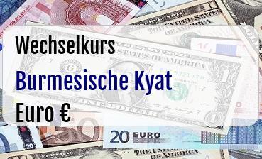 Burmesische Kyat in Euro