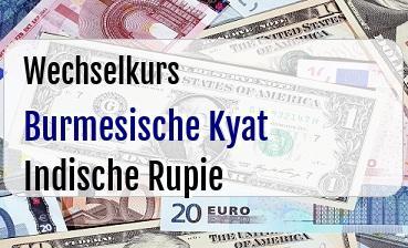 Burmesische Kyat in Indische Rupie