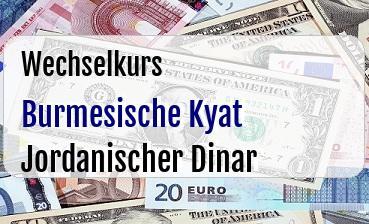 Burmesische Kyat in Jordanischer Dinar