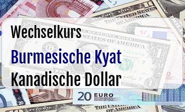Burmesische Kyat in Kanadische Dollar