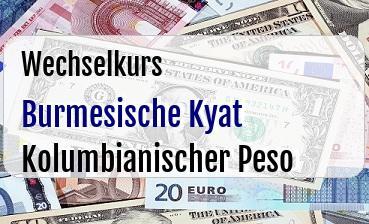 Burmesische Kyat in Kolumbianischer Peso